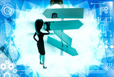 3d  woman looking at road sign board to find direction illustration Stock Images