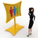 3d woman looking surprised while looking at three gender symbol concept Royalty Free Stock Photography