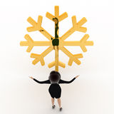 3d woman lookingat golden lucky winter symbol concept Stock Image