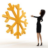3d woman lookingat golden lucky winter symbol concept Royalty Free Stock Image