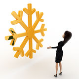 3d woman lookingat golden lucky winter symbol concept Royalty Free Stock Photography