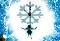 3d woman lookingat golden lucky winter symbol illustration Stock Photo