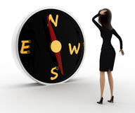 3d woman looks worried while looking direction on compass concept Royalty Free Stock Photography