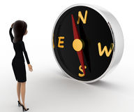3d woman looks worried while looking direction on compass concept Stock Photos