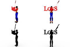 3d woman loss concept Collections With Alpha And Shadow Channel Royalty Free Stock Image