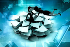 3d woman lots of paper work concept Stock Photography
