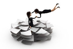 3d woman lots of paper work concept Stock Photos
