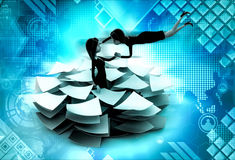 3d woman lots of paper work concept Royalty Free Stock Photo
