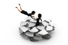 3d woman lots of paper work concept Royalty Free Stock Photos