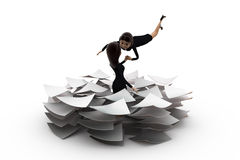 3d woman lots of paper work concept Stock Image
