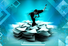 3d woman lots of paper work concept Royalty Free Stock Images