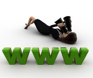 3d woman lying on floor and looking for website thourgh binocular concept Stock Images