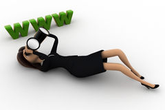 3d woman lying on floor and looking for website thourgh binocular concept Royalty Free Stock Image