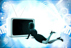 3d woman lying on floor and watching tv illustration Royalty Free Stock Photo