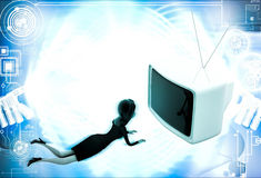 3d woman lying on floor and watching tv illustration Royalty Free Stock Photography