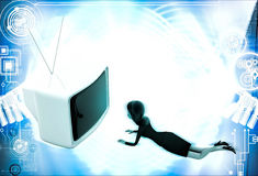 3d woman lying on floor and watching tv illustration Royalty Free Stock Image