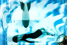 3d woman lying and rocket falling on her illustration Stock Image