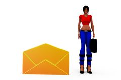 3d woman mail concept Royalty Free Stock Photo
