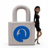 3d woman mail lock concept Stock Images