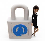 3d woman mail lock concept Stock Photography