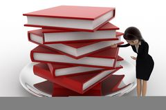 3d woman with many books on dish concept Royalty Free Stock Photography