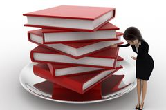 3d woman with many books on dish concept Stock Photos