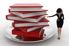 3d woman with many books on dish concept Royalty Free Stock Images