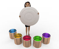 3d woman with many colour boxes concept Royalty Free Stock Images