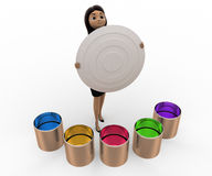 3d woman with many colour boxes concept Stock Image