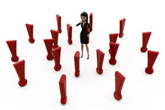 3d woman with many exclamation marks concept Stock Photo