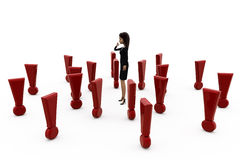 3d woman with many exclamation marks concept Royalty Free Stock Photos