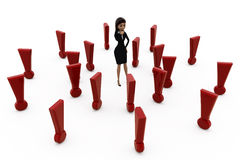 3d woman with many exclamation marks concept Stock Photos