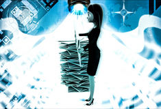 3d woman with many mails in inbox and one mail with question mark in hand illustration Stock Photos