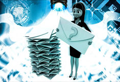 3d woman with many mails in inbox and one mail with question mark in hand illustration Stock Photography
