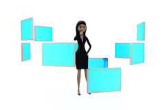 3d woman with many screens concept Stock Photography