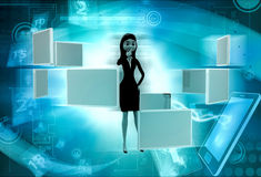 3d woman with many screens concept Stock Images
