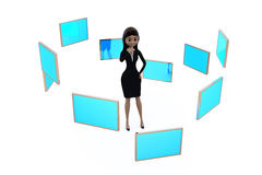 3d woman with many screens concept Stock Image