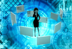 3d woman with many screens concept Royalty Free Stock Image