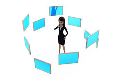 3d woman with many screens concept Royalty Free Stock Photo