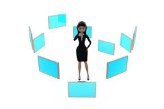 3d woman with many screens concept Stock Photos