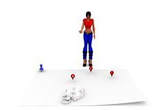 3d woman map concept Stock Photo