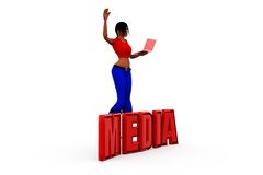 3d woman media concept Royalty Free Stock Photos