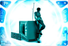 3d woman with media tv illustration Royalty Free Stock Photo