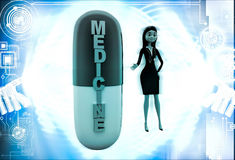 3d woman with medicine capsule illustration Stock Images
