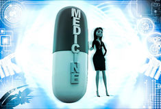 3d woman with medicine capsule illustration Stock Photo