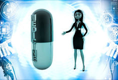 3d woman with medicine capsule illustration Stock Photography