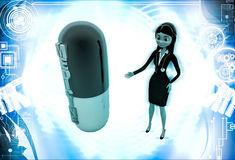 3d woman with medicine capsule illustration Royalty Free Stock Photos