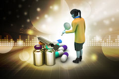3d woman with medicines Royalty Free Stock Photography