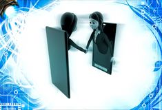 3d woman meet and ahndshake through smartphone screen illustration Royalty Free Stock Photography