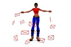 3d woman message concept Royalty Free Stock Image